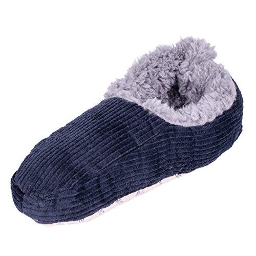 Fleece Mens Skid Socks Non Snoozies Lined Slipper Corduroy Navy Rgaxwn