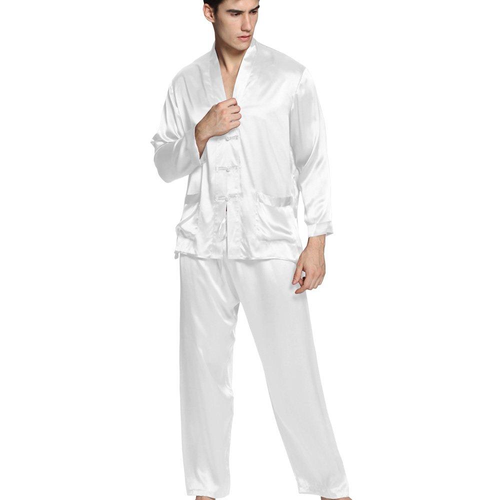 LilySilk (リリーシルク) メンズ パジャマ シルク 上下セット ナイトウェア  メンズフルレングス  22匁 高級シルク100%  ギフトにも最適  着心地抜群 OEKO認証済み【エキゾチック】 B00O5PPFHO S|ホワイト ホワイト S