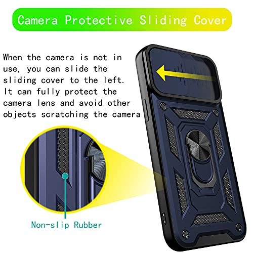 HAMGEEN for iPhone 13 Pro Max Case Heavy Duty Camera Protective Shell Shockproof Cover with Slide Camera Protector Non-Slip Bumper Ring Kickstand Case Compatible with iPhone 13 Pro Max 6.7inches Blue