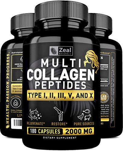 Multi Collagen Peptides Pills (Hydrolyzed Complex Ⅰ, Ⅱ, Ⅲ, Ⅴ & Ⅹ) 100% Pure Hydrolysate Collagen Pills Grass Fed Collagen Powder for Hair Skin and Nails + Joint Support - #1 Collagen Pills for Women