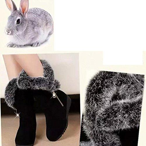 Black Med Faux cremallera de Boots Snow Botas Black botas MML Shoes cálidas con invierno pierna cuñas a Fur mujer para media Flatform 17wn6xq7P