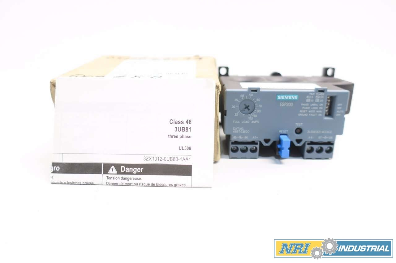NEW SIEMENS 48BTG3S00 ESP200 25-100A AMP SOLID STATE OVERLOAD RELAY D554670