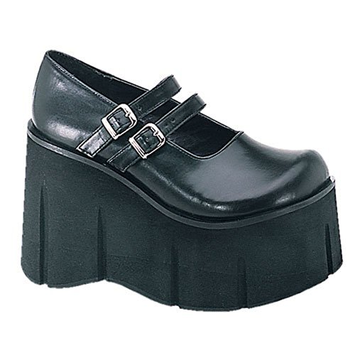 Womens Gothic Platform Wedges Black Mary Jane Shoes Double Strap 4 3/4 Inch WVjy2Hn
