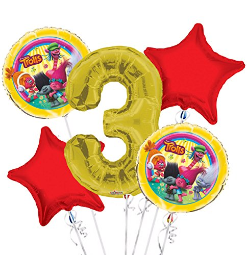 Trolls Balloon Bouquet 3rd Birthday 5 pcs - Party Supplies