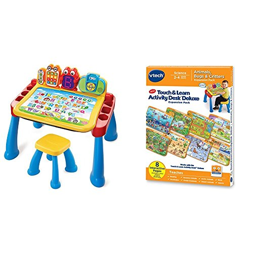 VTech Touch and Learn Activity Desk Deluxe with VTech Touch and Learn Activity Desk Deluxe Expansion Pack - Animals, Bugs and Critters Bundle