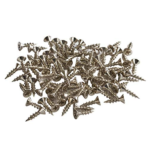 "Rok Hardware #7 x 5/8"" Flat Head Phillips Deep Thread Wood Screws Nickel Plated - Super Value 100 Pack"