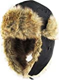 KBW-601 BLK Solid Aviator Trooper Trapper Hat Winter Cap
