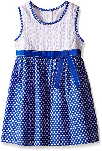 Girls' Eyelet to Polka Dot Cotton Skirt Dress, Blue, 4T ()