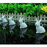LEDMOMO Easter Rabbit Lights Battery Powered 10 LED White Bunny String Lights Party Decorative Rabbit Lamp(Pure White Light)