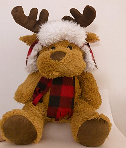 23 Earmuff (Plush Light Brown Moose Antlers Checkered Ear Muff Hat Flannel Scarf 23