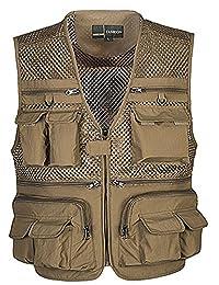 Idopy Men`s Mesh Muti-functional Photography Fishing Travel Vest Waistcoat