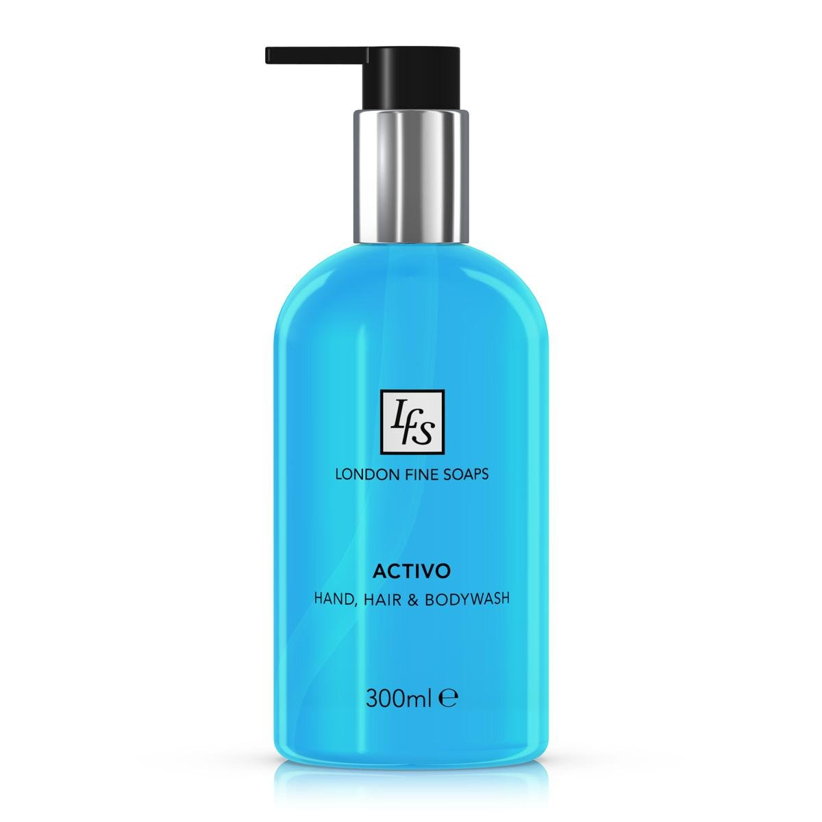London Fine Soaps BYR205-03 Activo Hand, Hair and Body Wash, 300 mL (Pack of 6)