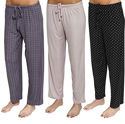 3 Pack: Womens Pajama Pants Ladies Bottoms Summer Clothes Sexy Pijama PJ Silk Sleep Wear Lounge Night Bamboo Palazzo,Set B-Medium
