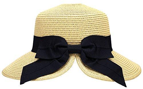AbbyLexi Women's Pretty Vintage Foldable Sun Visor Straw Hat w/Bow, Beige ()