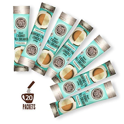Coconut Cloud: Vegan Coffee Creamer, Unsweetened & Dairy Free ~ New '19 | Made from Coconut Powdered Milk with MCT Oil | Delicious Natural Plant Based, (Non GMO, Gluten Free & Soy Free), 20 Sticks