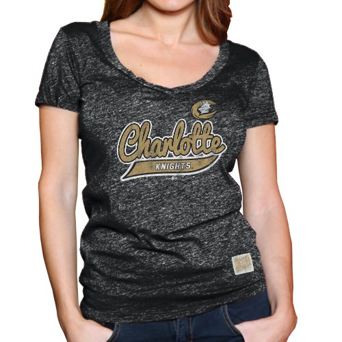 Minor League Baseball Charlotte Knights Women's T-Shirt, X-Large, Heather Black (Stb Baseball)