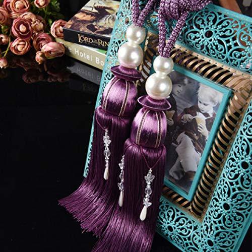 XDH-RTS Curtain Rope Tassel Tie Backs 2 Pcs Elegant Hanging Ball Belts Home Decor Vintage Chic Pagoda Fringe Pendants