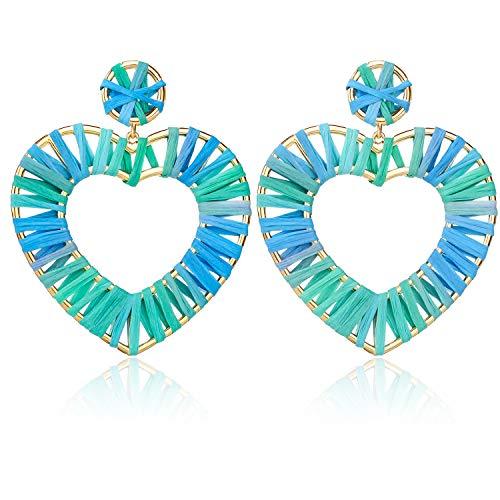 Green Heart Raffia Earrings Bead Statement Geometric Woven Straw Colorful Earrings Drop Dangle Hoop Earrings Heart Boho Hollow Earrings Summer Wear Gifts for Teens Girls