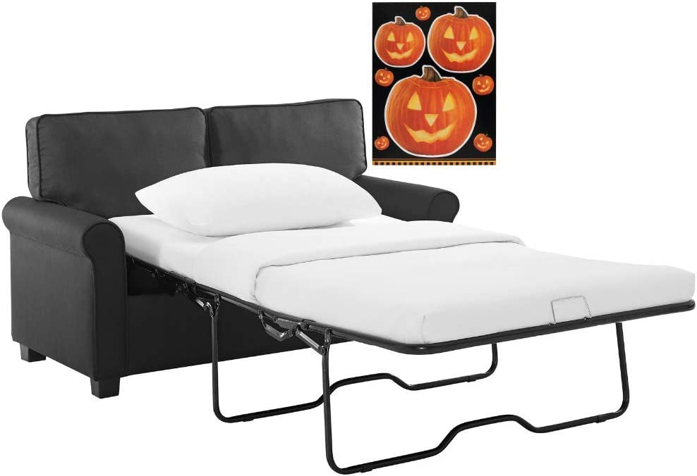 Black Perfect Secondary Sleeping Solution Sofa Sleeper with Memory Foam Mattress No-Tool Easy Assembly with Free Halloween Bundle