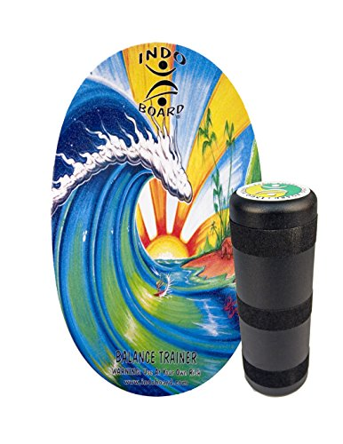 "INDO BOARD Original Balance Board with 6.5"" Roller And 30"" X 18"" Non-Slip Deck – Bamboo Beach Design"