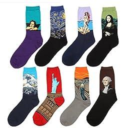 Zmart Men\'s Art Patterned Casual Crew Socks 8-Pack,Multicoloured ,Medium