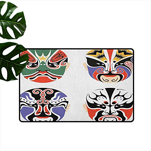 Kabuki Mask Entrance Door mat Traditional Chinese Cultural Opera Mask Set Collection Asian Tribal Art Theme Hard and wear Resistant W29 x L39 -