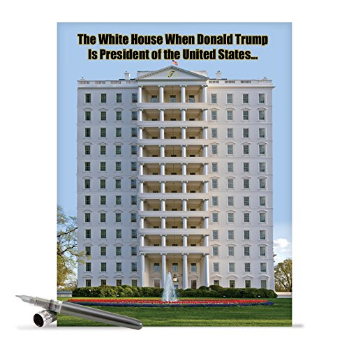 J2064BDG Jumbo Funny Birthday Card: Trump White House With Envelope (Extra Large Version: 8.5'' x 11'')
