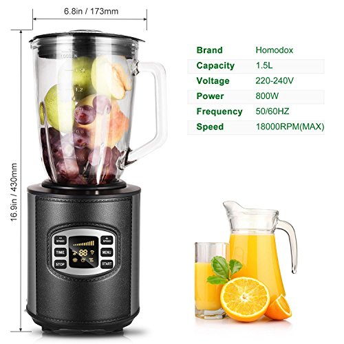 Utheing Smoothie Blender, 800W 5 Modes 50oz Stainless Steel, Fruit Mixer with Smart Timer Setting for Shakes and Smoothies Silver by Utheing (Image #1)