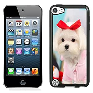 Beautiful Custom Designed Cover Case For iPod Touch 5th With Cute Puppy with Red Bow Phone Case Cover