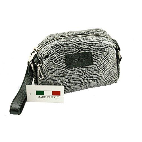 Pochette borsa beauty donna in tessuto zebrato inserti in vera pelle ICONE 12x19x9 cm MADE IN ITALY