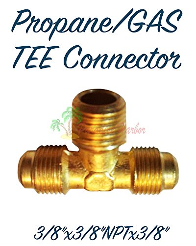 Paradise Harbor Propane Connector Natural Gas Connector TEE Fitting RV Connector Natural Gas Adapter Propane Adapter RV Quick Connect Brass Gas Fittings TEE 3/8