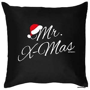 X-Mas–Cojín <-> Mr. X-Mas–<-> pequeño Präsent en Navidad, Goodman Diseño ® Negro