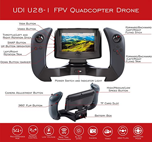 "UDI U28-1 FPV Drone with Camera – Remote Control Drone Quadcopter with Altitude Hold, WiFi HD Camera and 4"" LCD Screen - Great RC Drone for Kids or Beginners - Extra Battery Doubles Flight Time"
