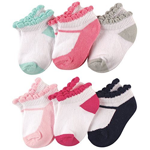 Luvable Friends Baby 6-Pack No Show Ankle Socks, Mary Janes, 12-24 Months