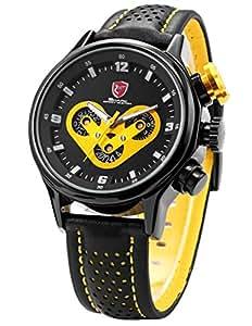 SHARK SH091 - Reloj analógico de cuarzo para hombre con correa de cuero, color negro & amarillo