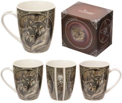 Puckator Lisa Parker - Taza de Desayuno (Porcelana, en Caja), diseño de Lobos: Amazon.es: Hogar