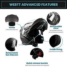 Westt Torque X – Klapphelm Integralhelm Motorrad Helm Doppelvisier – Matt Schwarz – Roller – ECE Zertifiziert