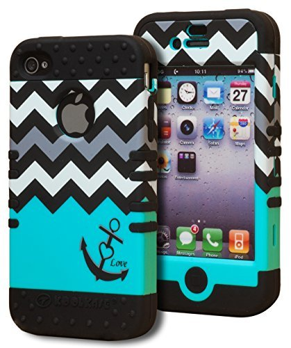 Bastex Heavy Duty Hybrid Case for iPhone 4, 4s, 4th Generation - Black Silicone/Teal & White Chevron Pattern Hard Shell with Anchor & Heart Design 4s White Hard Case