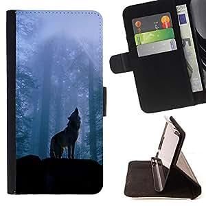 - Nature Howling Wolf - - Monedero PU titular de la tarjeta de cr????dito de cuero cubierta de la caja de la bolsa FOR Apple Iphone 6 PLUS 5.5 RetroCandy