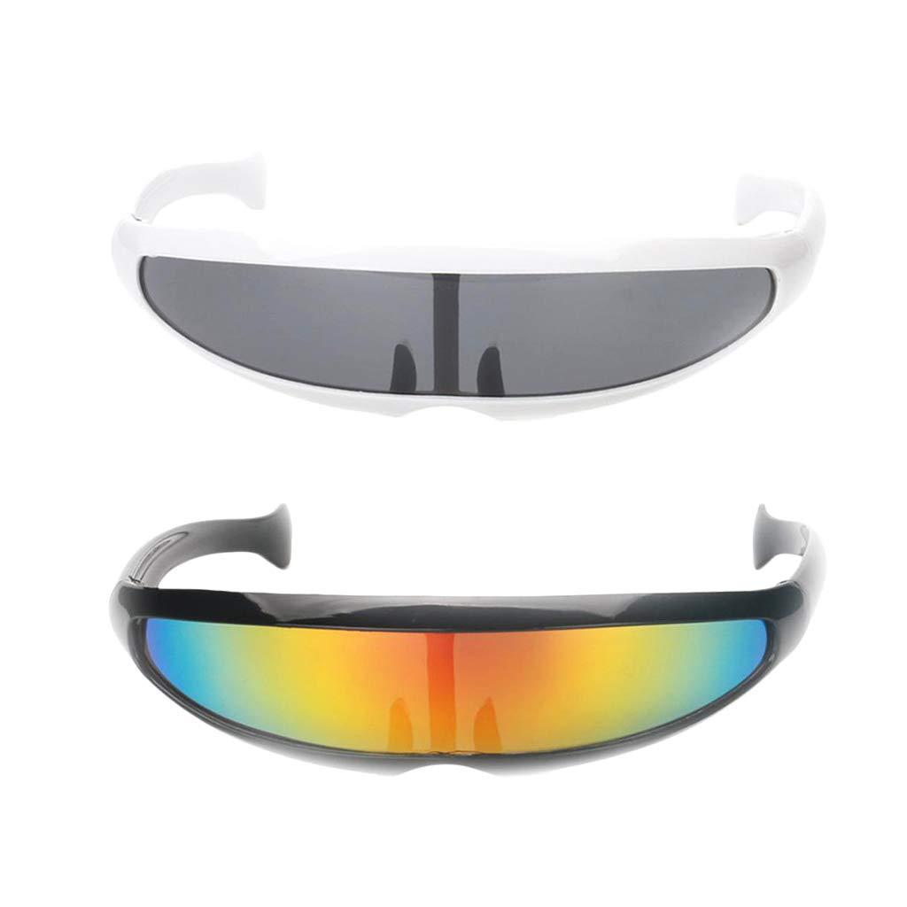 F Fityle 2X Gafas de Sol de Visera Estrechas Futurista Robot ...