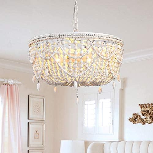 Lovedima Vintage Country 3-Light 5-Light Distressed Wood Beaded Basket Pendant Light Ceiling Light White, 5-Light