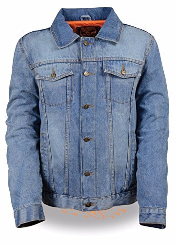 Men's Classic Denim Jacket with 2 Gun pockets full sleeve jean pocket style (2XL, Blue)