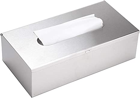 Amazon Com Sumnacon Rectangular Tissue Box Cover Stylish Stainless Steel Paper Facial Cover Modern Metal Tissue Box Holder For Bedroom Bathroom Vanity Countertop Dresser Night Stand Office Car Brushed Nickel Home Kitchen