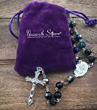 Nazareth Store Catholic Rosary Necklace Multi Color Black Blue Crystal Beads Miraculous Medal & Cross in Velvet Bag
