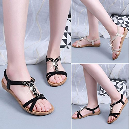 Bovake Summer Women Sandals, Flat Shoes Beaded Boho Leisure Lady Sandals Peep-Toe Outdoor Sandals - Bohemia Heels Ladies Ankle Strap Buckle Shoes Wedges Shoes Lovely Footwear Flip Flop Sandal Black
