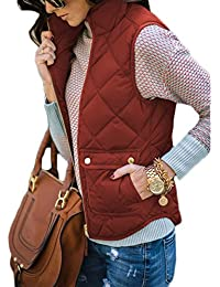Women's Stand Collar Warm Padded Zip Closure Side Pockets Gilet Quilted Puffer Vest