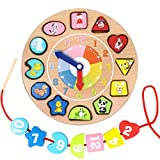 Image of Lewo Wooden Shapes Sorting Teaching Clock Lacing Beads Math Puzzle Educational Toys for Kids