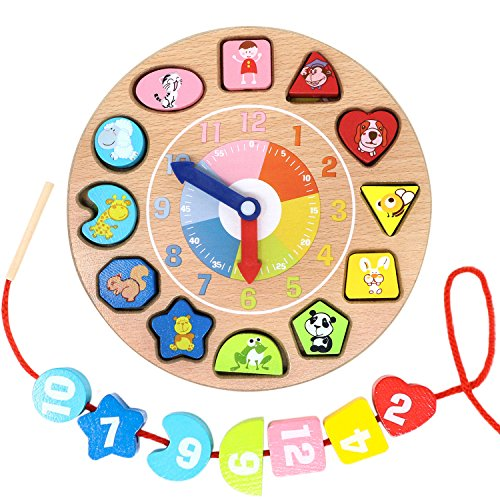 Lewo Wooden Shapes Sorting Teaching Clock Lacing Beads Math Puzzle Educational Toys (Wooden Teaching Clock)