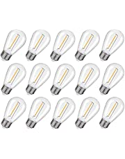 15 Pack S14 5V 2 W Solar Light Bulbs Waterproof Vintage Filament Glass Bulb E27 Screw Base