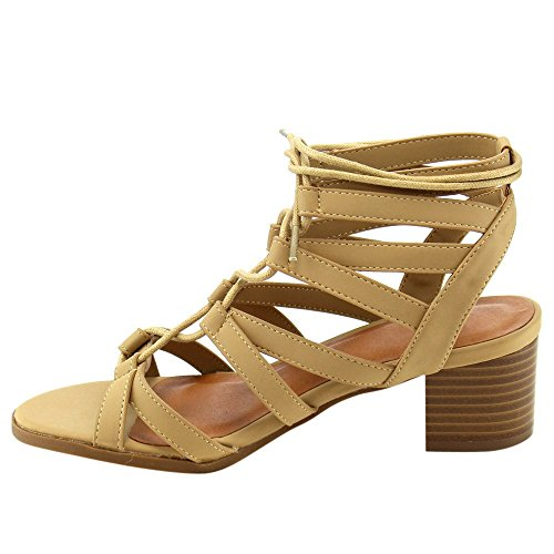 Camel Womens bonnibel Sandals Strappy wishy Up Gladiator Lace BESTON Chunky Heel 2 aStPwdUxq